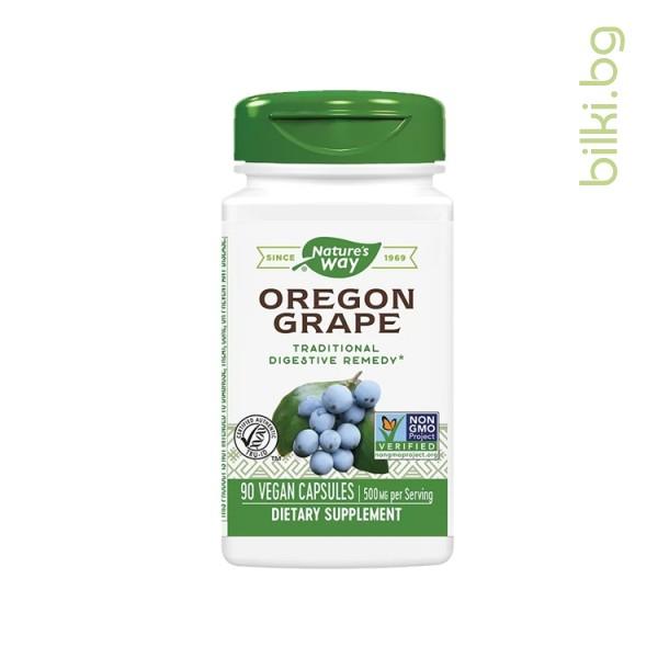 Хранителна добавка, 90 V- капсули      Съставки:                                 (в 1 капс.)          дн. доза    Орегонско грозде (корен)       500 mg             1500 mg            Растителна капсула, магнезиев стеарат. Не съдържа: Захар, сол, мая, пшен