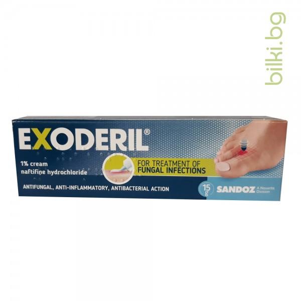 ЕКЗОДЕРИЛ, ЕКСОДЕРИЛ 1% крем при гъбички по краката