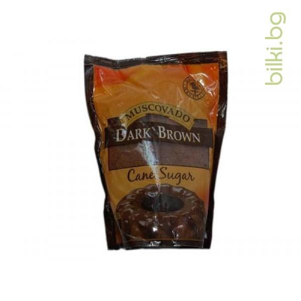 Тъмно Кафява захар МУСКОВАДО, DARK BROWN, 500 гр