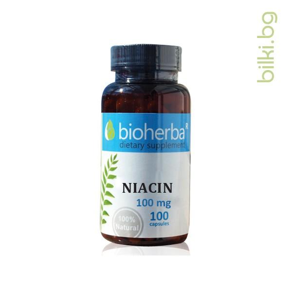 Ниацин, витамин В3, енергия, капсули, биохерба, храносмилане, нервна система, кожа, полови хормони, здравословен баланс