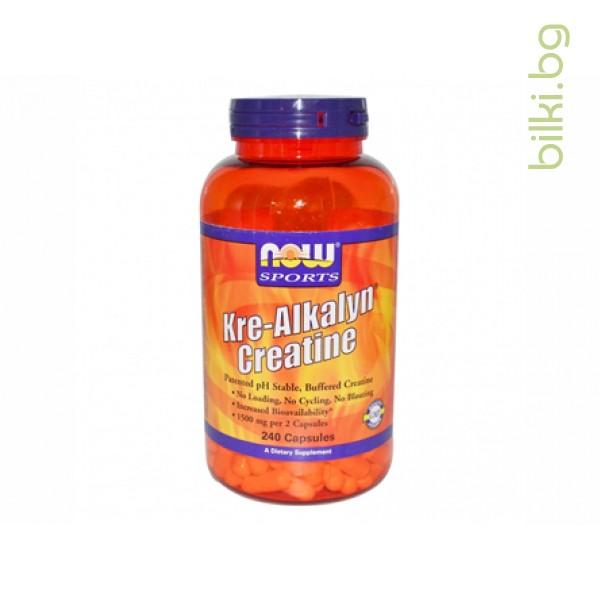 kre-alkalyn,кре-алкалин,now foods,креатин етил естер,240 капсули