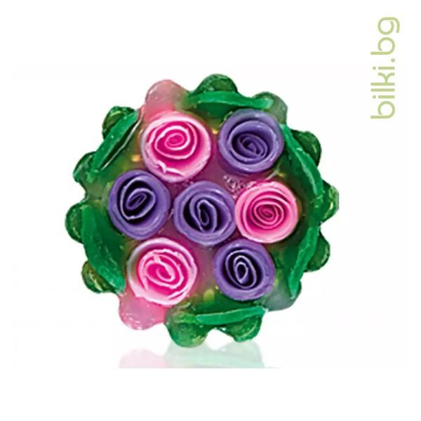 глицеринов сапун, rose fantasy, кошница, лилаво,циклама, сапун