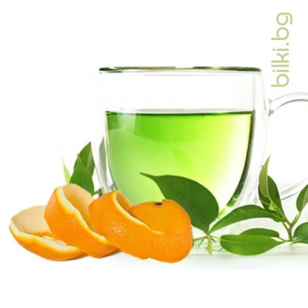 зелен чай, чай зелен,зелен чай с,портокалови корички,портокалова кора