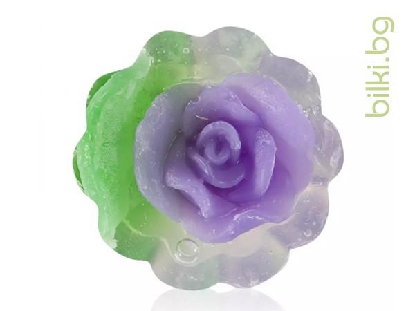 глицеринов сапун, rose fantasy, кошничка,лилав,глицеринов, сапун