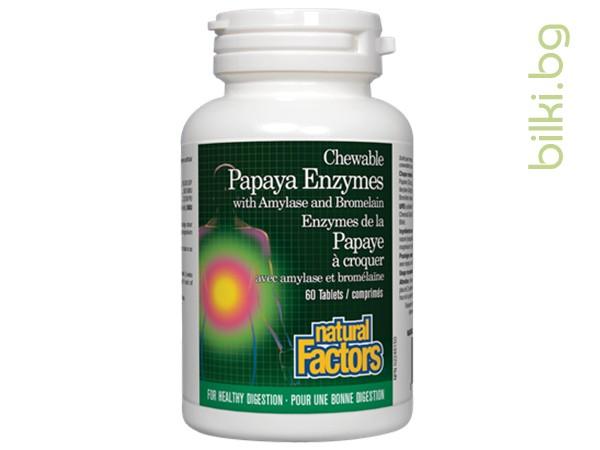 папая, ензими, амилаза, бромелаин, natural factors