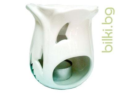 Арома лампа за свещ Лале, бяла
