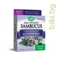 Самбукус, Max Potency, Nature's Way, стандартизиран черен бъз, 250 mg  x 18 вегетариански софтгел капсули