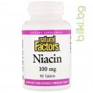 Витамин B3, ниацин, Natural Factors, 100 мг, 90 таблетки