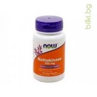 натокиназа,nattokinase,ензим,now foods,100 мг,60 капсули