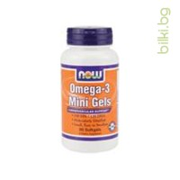 OMEGA 3 MINI GELS, Now Foods, ДРАЖЕТА Х 90