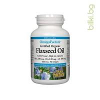 Ленено масло, Natural Factors, 1000 mg x 90 капсули