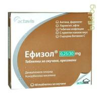 ЕФИЗОЛ 40 тaблетки - при болки в гърлото
